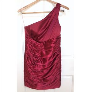 Macy's Trixxi Glossy Red Cocktail Dress- Cinched